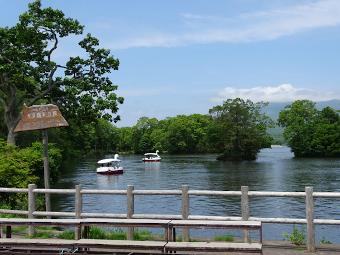 大沼公園でワンコとボート